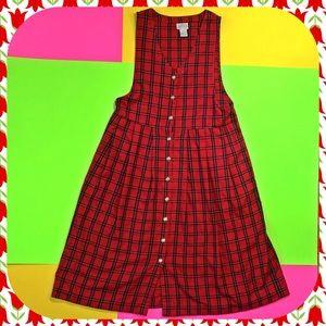 Vintage plaid red dress jumper frock brass buttons